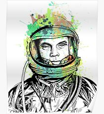 Lt. Col. John Glenn Ink + Watercolor Portrait Art Poster