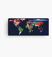 Map of Flags Navy Canvas Print