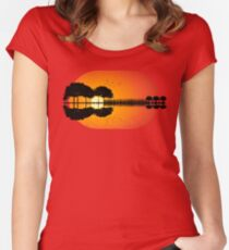 guitar island sunset iLL Women's Fitted Scoop T-Shirt
