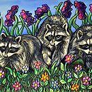 Racoons in The Garden by Rachelle Dyer