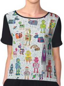 Robots in Space - grey Chiffon Top
