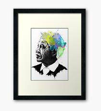 Nelson Mandela Ink + Watercolor Portrait Art Framed Print