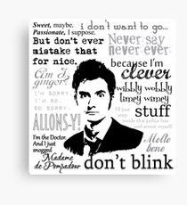 Tenth Doctor - on white Canvas Print
