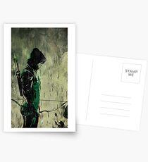 Green Arrow Grunge Art Postcards