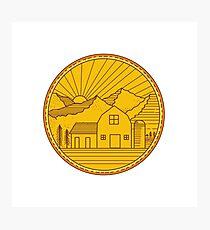 American Farm Barn House Mountain Circle Mono Line Photographic Print