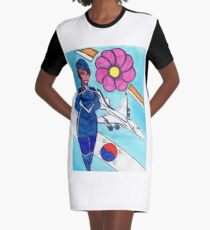 Fly To Korea With Me Graphic T-Shirt Dress