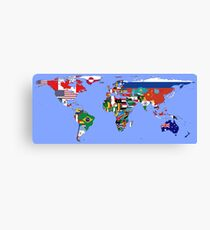 Map of Flags Light Blue Canvas Print