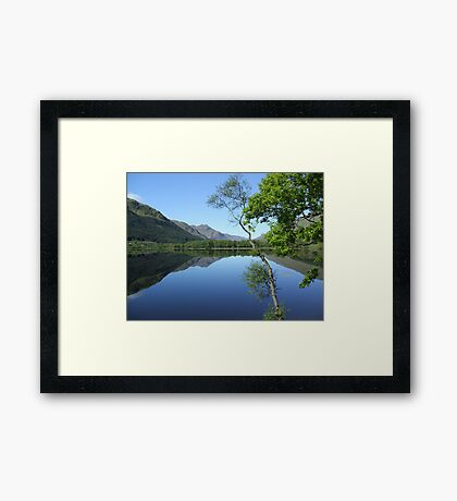 mirror calm scottish loch   Framed Print