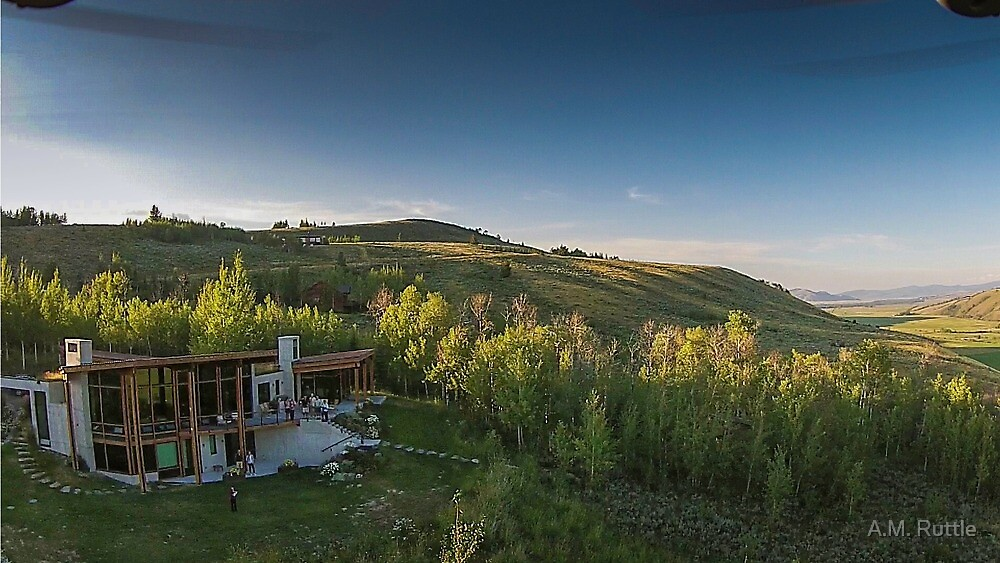 Drone Aerial of Beautiful Home Overlooking Jackson Hole by A.M. Ruttle