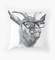 Smiling Hipster Goat Sketch Throw Pillow