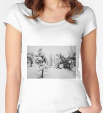 Snowstorm in the forest Women's Fitted Scoop T-Shirt