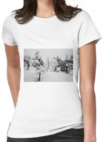 Snowstorm in the forest Womens Fitted T-Shirt
