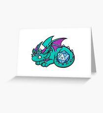 Turquoise Dice Dragon Greeting Card