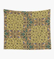 Gold Knotwork Squares and Hounds Border Wall Tapestry