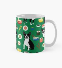 Boston Terrier sushi funny dog art pattern gifts for dog lover pet portrait by PetFriendly Mug