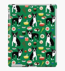 Boston Terrier sushi funny dog art pattern gifts for dog lover pet portrait by PetFriendly iPad Case/Skin