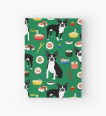Boston Terrier sushi funny dog art pattern gifts for dog lover pet portrait by PetFriendly Hardcover Journal