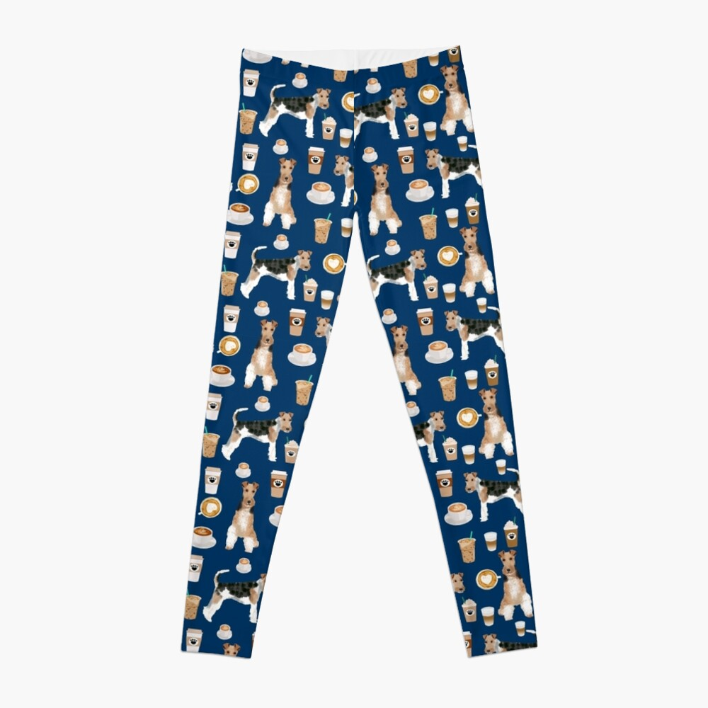 Wire Fox Terrier coffee dog pattern dog lover gifts for dog person dog breeds pet friendly by PetFriendly Leggings