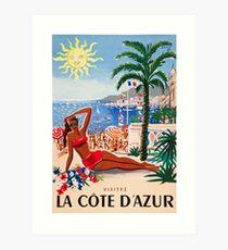 1955 France Visit La Cote D'Azur Travel Poster Art Print
