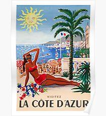 Póster 1955 Francia Visita La Cote D'Azur Travel Poster