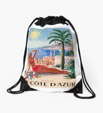 1955 France Visit La Cote D'Azur Travel Poster Drawstring Bag