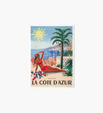 1955 France Visit La Cote D'Azur Travel Poster Art Board