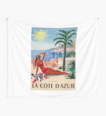 1955 France Visit La Cote D'Azur Travel Poster Wall Tapestry
