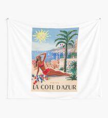 1955 France Visit La Cote D'Azur Travel Poster Wall Tapestry