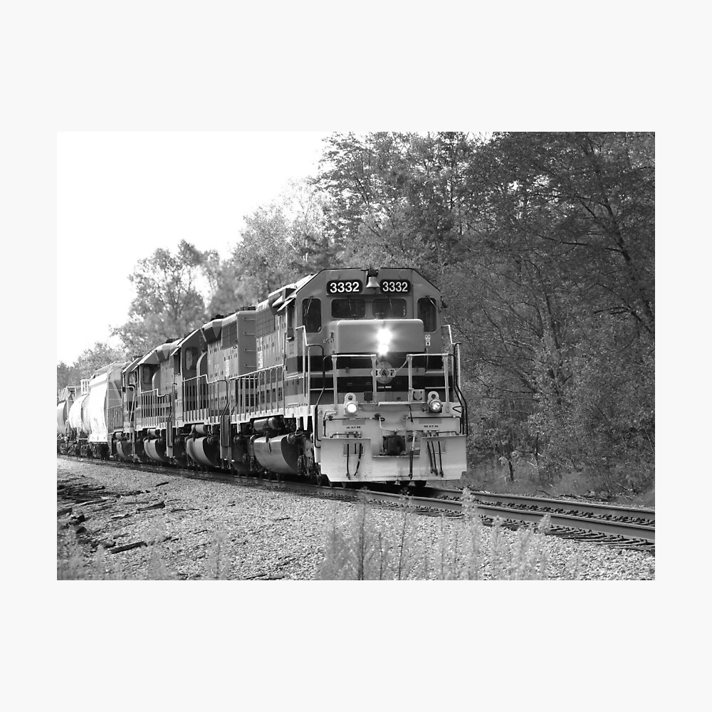 Fall Train in Black and White Photographic Print