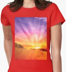 Fractal Scapes - Desert Sunset Womens Fitted T-Shirt