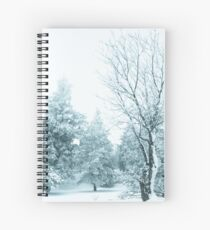 Snow and frost covered pine trees Spiral Notebook