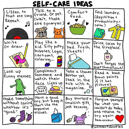 Quot Self Care Ideas Quot Poster By Introvertgirl Redbubble