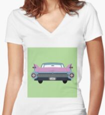 classic 1950s car Women's Fitted V-Neck T-Shirt