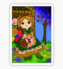 Gretel at the Gingerbread house Sticker