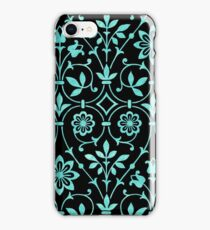 Vintage Floral Turquoise Blue Green Flowers Pattern iPhone Case/Skin