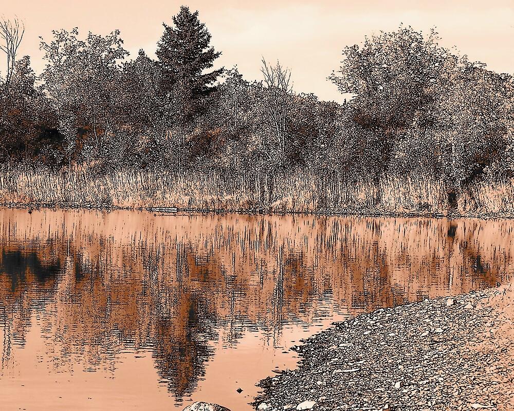Pink Pond Sunset by Gene Cyr