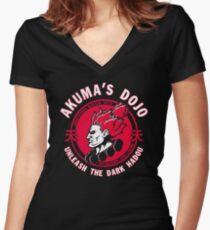 AKUMA dojo Gouki tee street fighter martial arts game Women's Fitted V-Neck T-Shirt