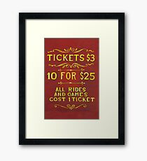 Amusement - Tickets 3 Dollars Framed Print