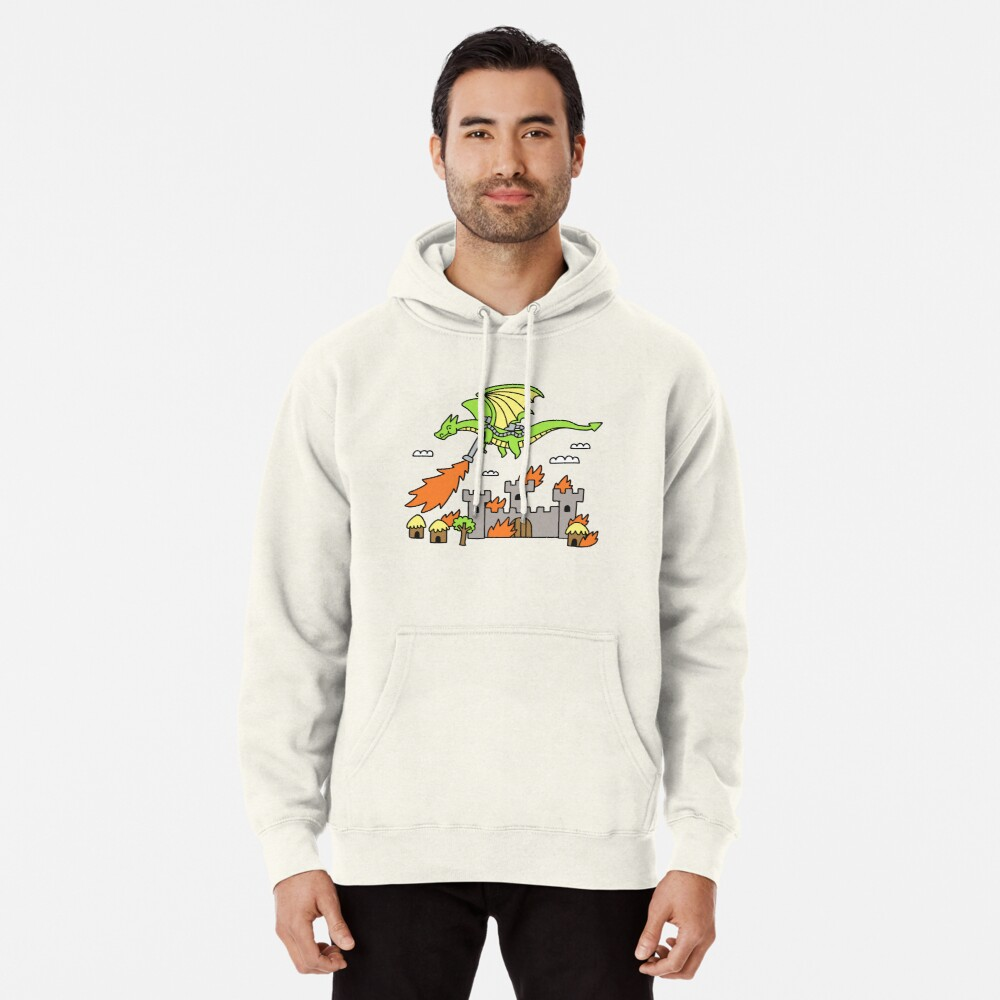 Dragon With A Flamethrower Pullover Hoodie