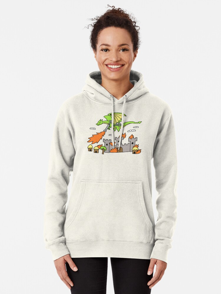 Alternate view of Dragon With A Flamethrower Pullover Hoodie