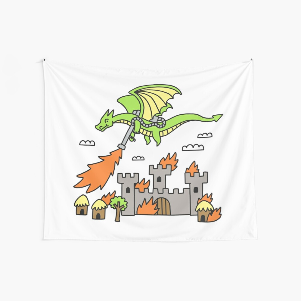 Dragon With A Flamethrower Wall Tapestry