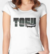 TOFU delivery - black Women's Fitted Scoop T-Shirt