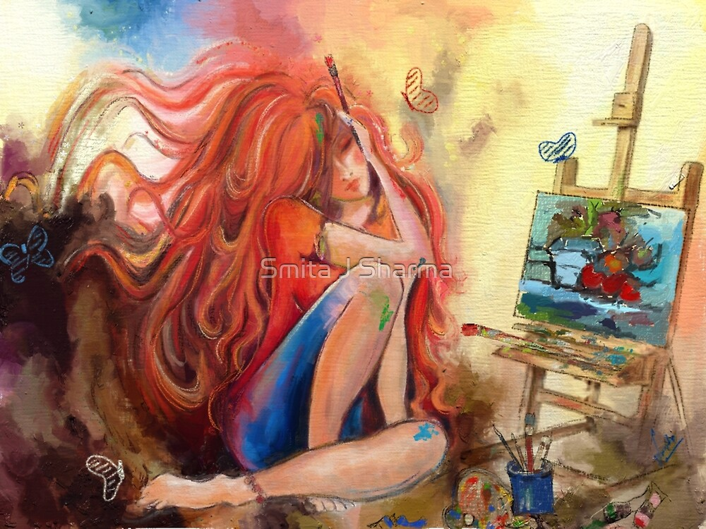 Artist lost in her work  by Smita J Sharma