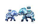 Blue Lotus Tie Dye Elephants by Karin Taylor
