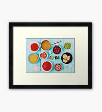Food Ingredients For Minestrone Soup Recipe Framed Print