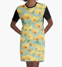 Painted Golden Yellow Daisies on soft sage green Graphic T-Shirt Dress