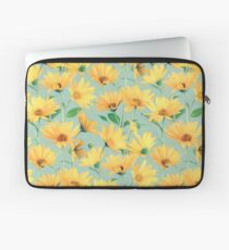 Painted Golden Yellow Daisies on soft sage green Laptop Sleeve