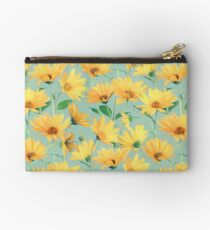 Painted Golden Yellow Daisies on soft sage green Studio Pouch