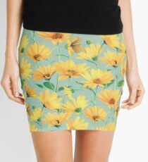 Painted Golden Yellow Daisies on soft sage green Mini Skirt