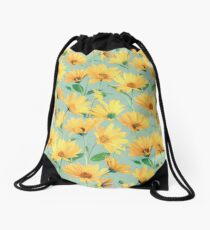 Painted Golden Yellow Daisies on soft sage green Drawstring Bag